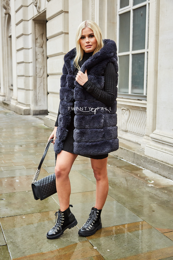Faux Fur Hooded Charcoal Gilet