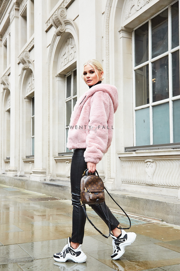 Premium Faux Mink Fur Bomber with Hood