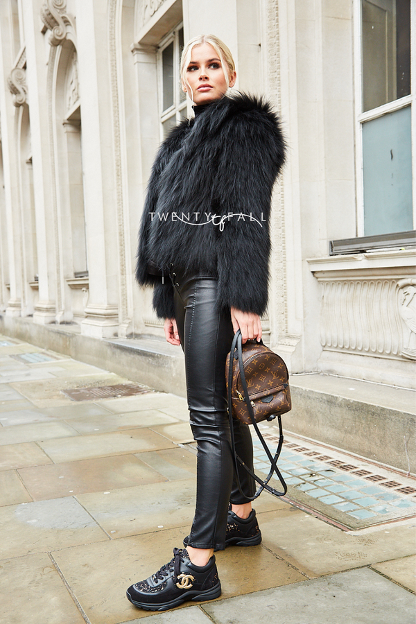 Black Knitted Silver Fox Fur Coat with Hood