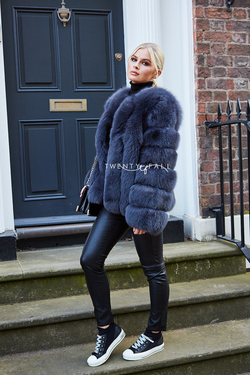 Charcoal Cropped Fox Fur Coat