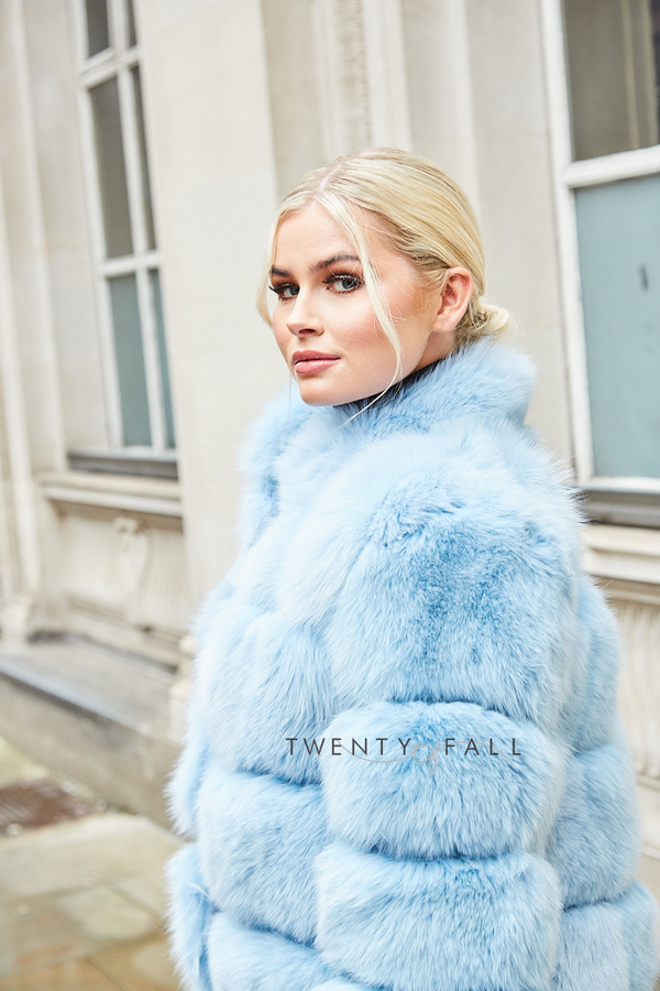 Lola Baby Blue Fox Fur Coat with Collar