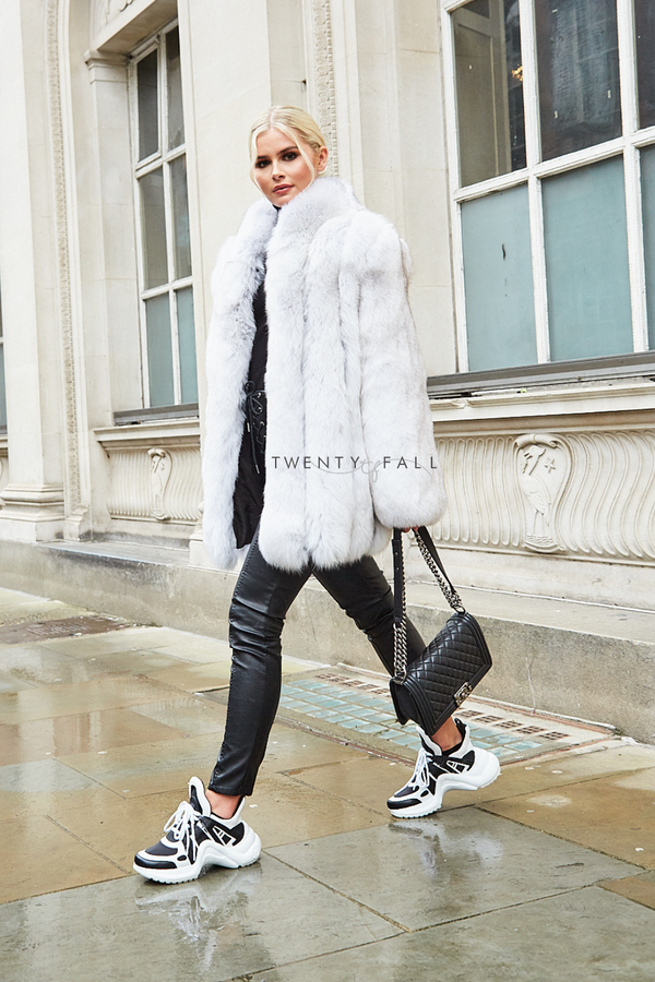 Natural Fox Fur Coat with Full Pelt Fur Sleeves and Collar