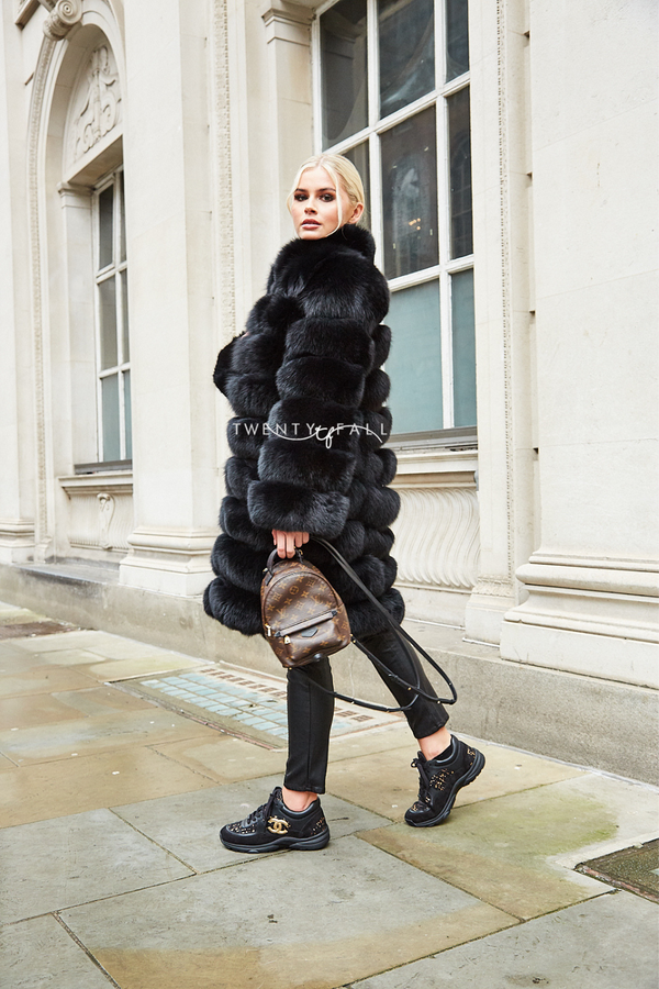Black 9 Ring Fox Fur Coat with Collar