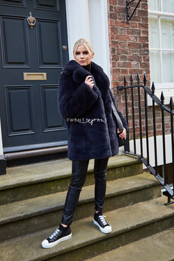 Faux Fur Full Pelt Charcoal Coat with Collar