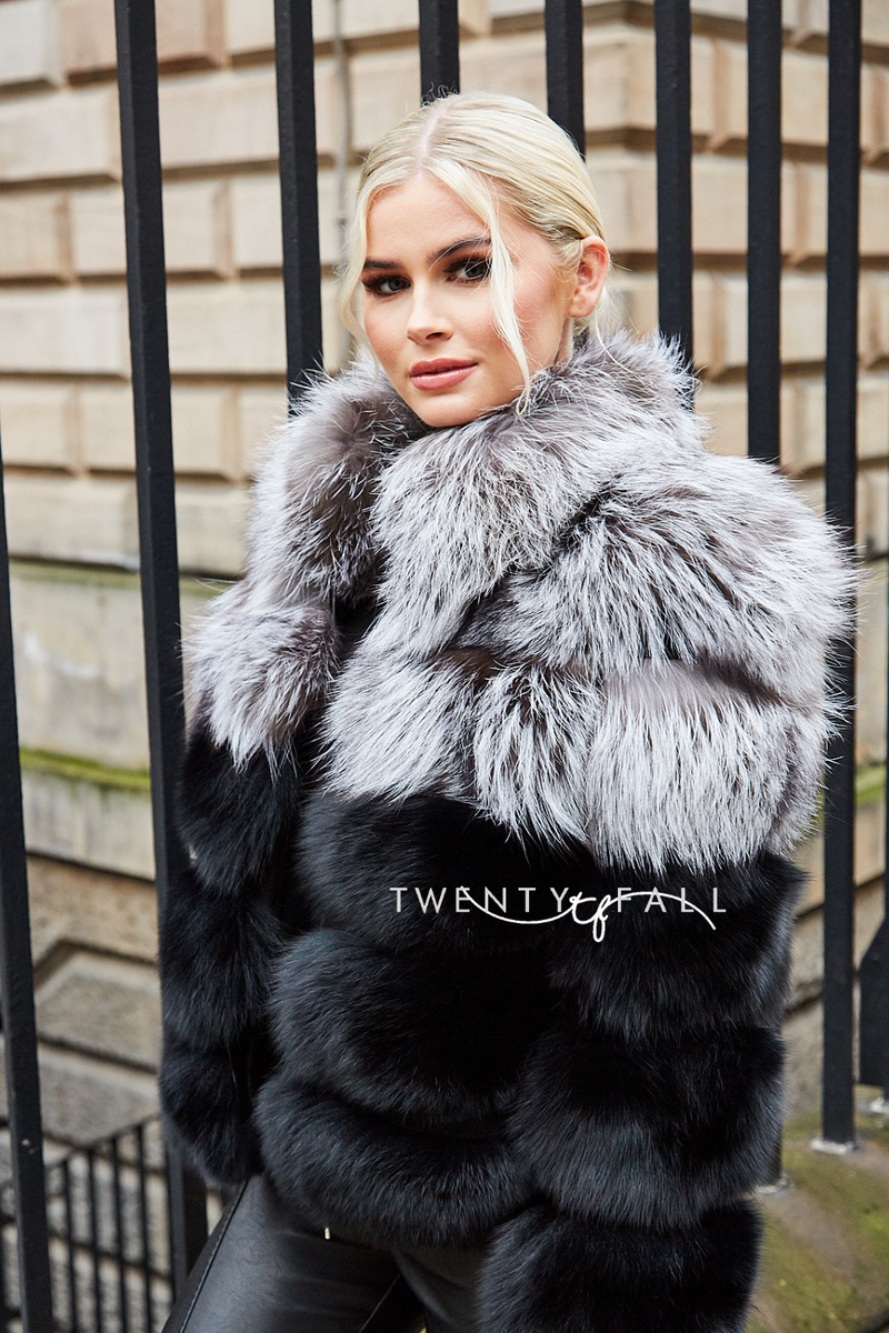 Silver/Black Fox Fur 5 Ring Coat with Collar
