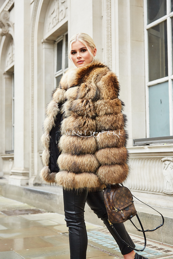 7 Ring Natural Raccoon Fur Coat with Collar