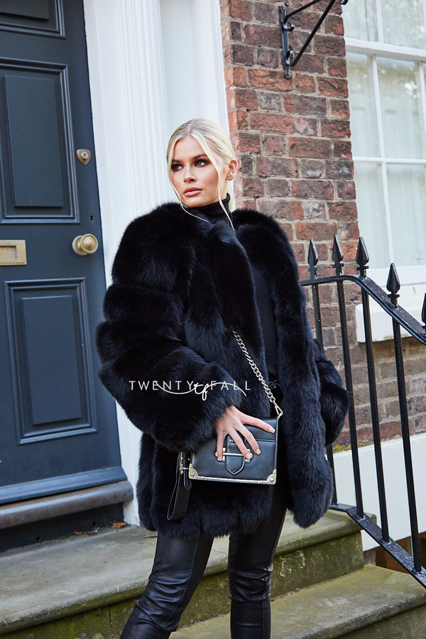 Black Long Fox Fur Coat