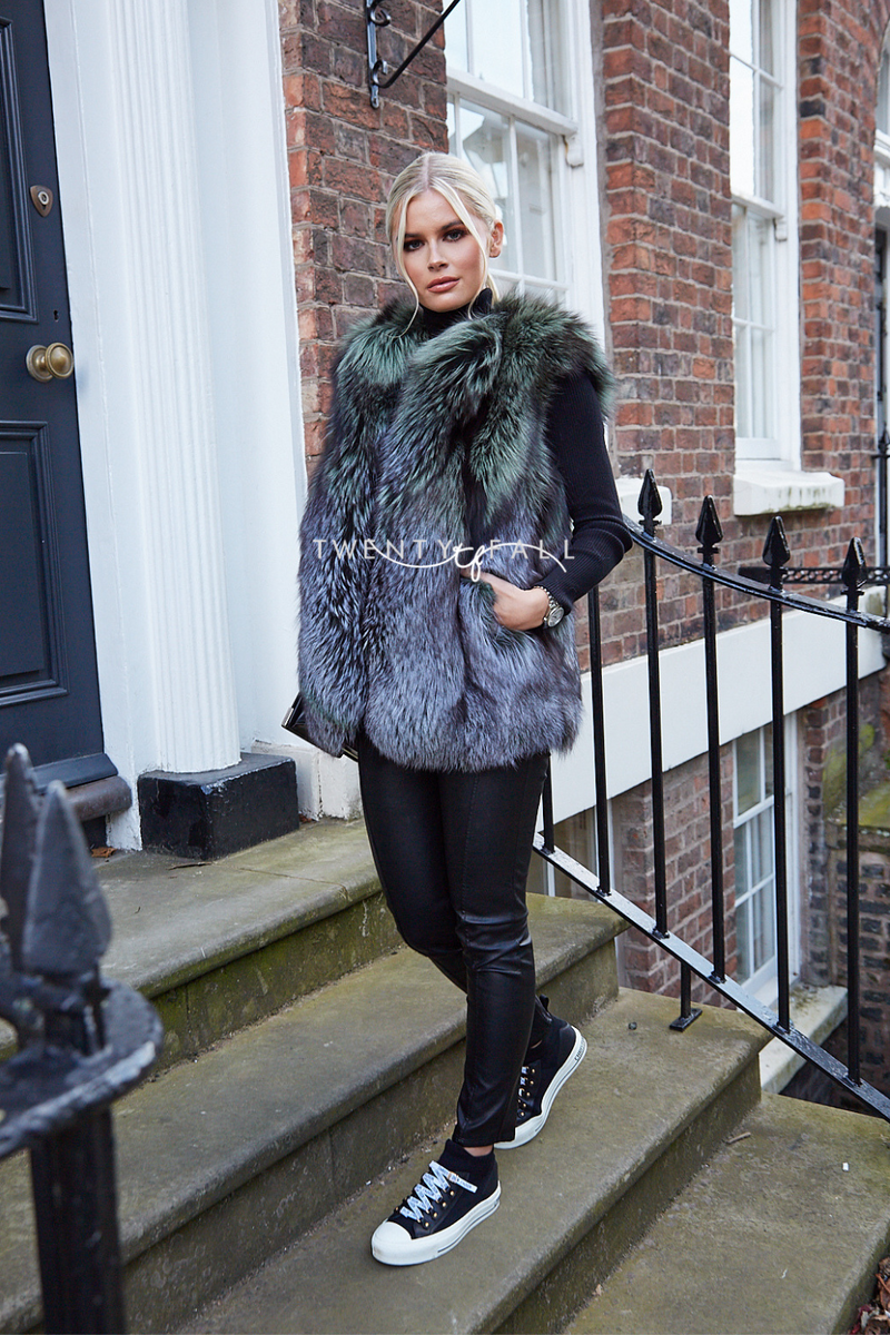 Two Tone Silver Fox Fur Gilet