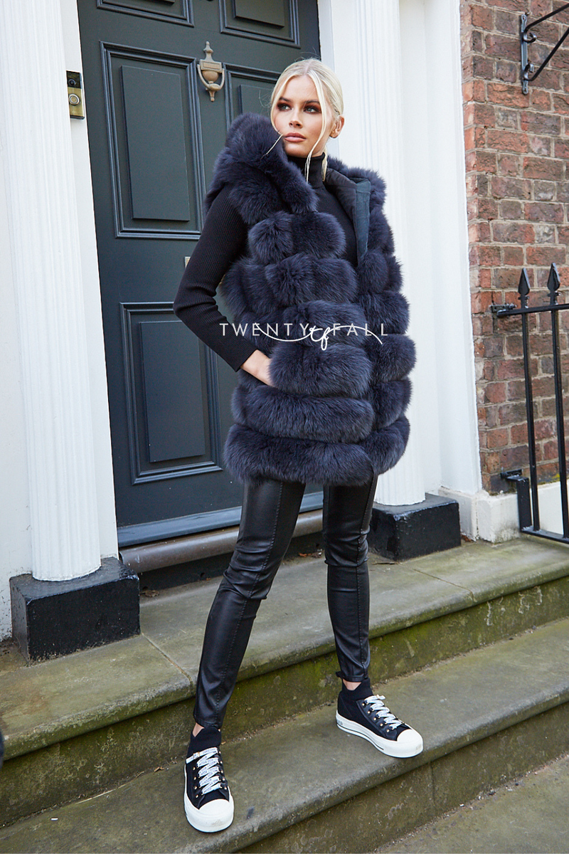 Charcoal Hooded Fox Fur Gilet