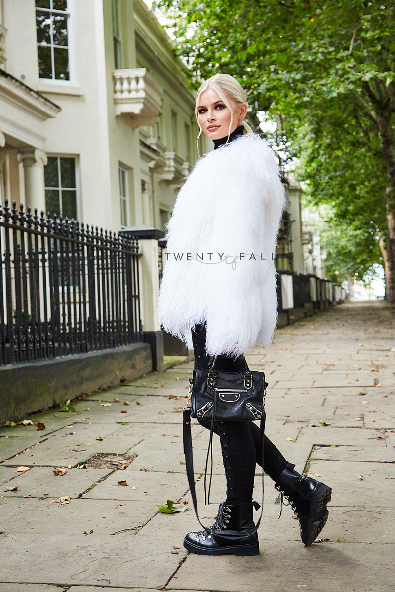 White Cropped Mongolian Fur Coat