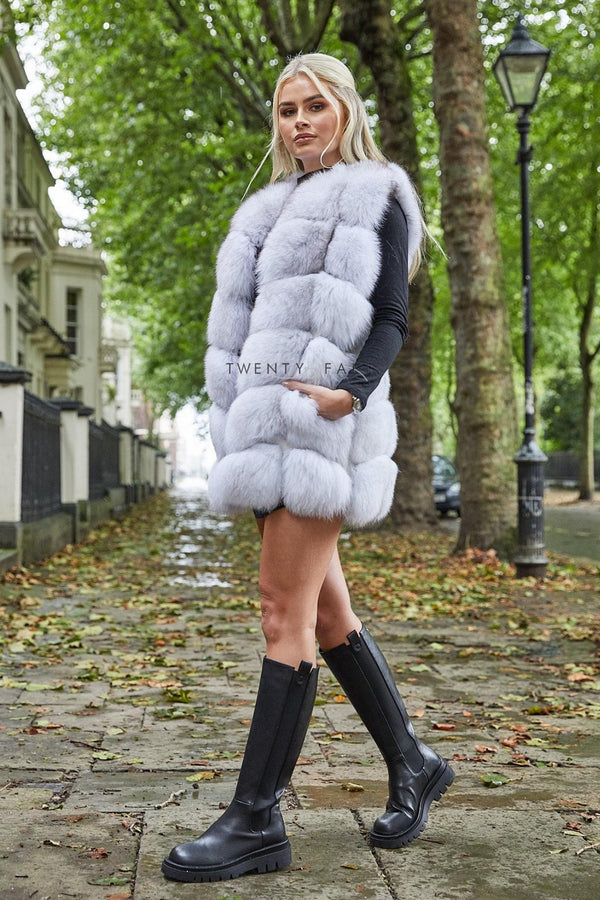 Natural White Straight Fox Fur Gilet