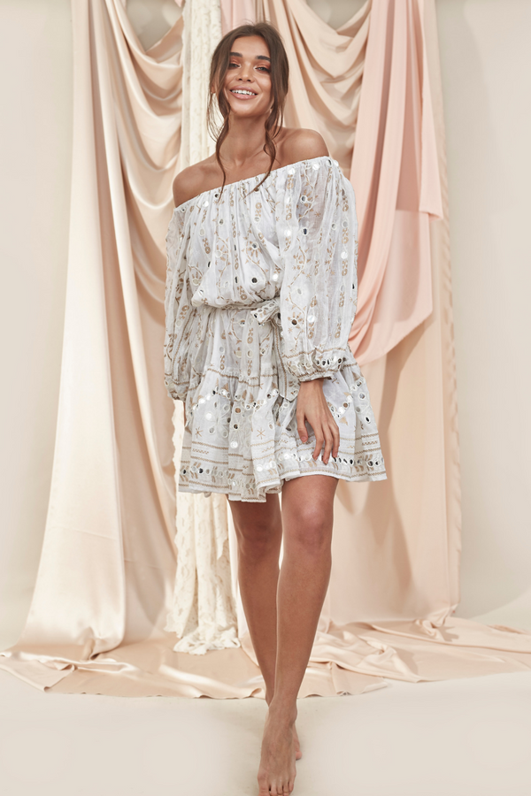 Boho Dress White/Gold