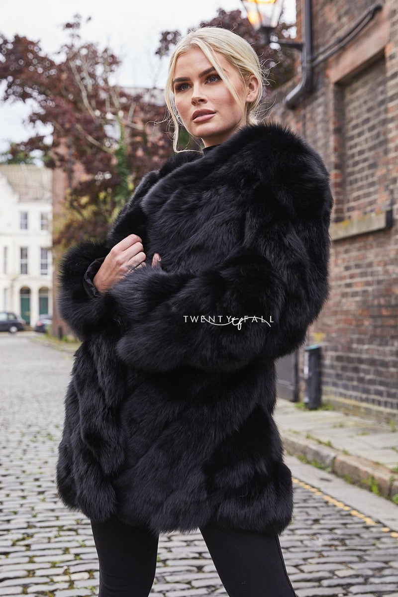 Black Fox Fur Twist Coat