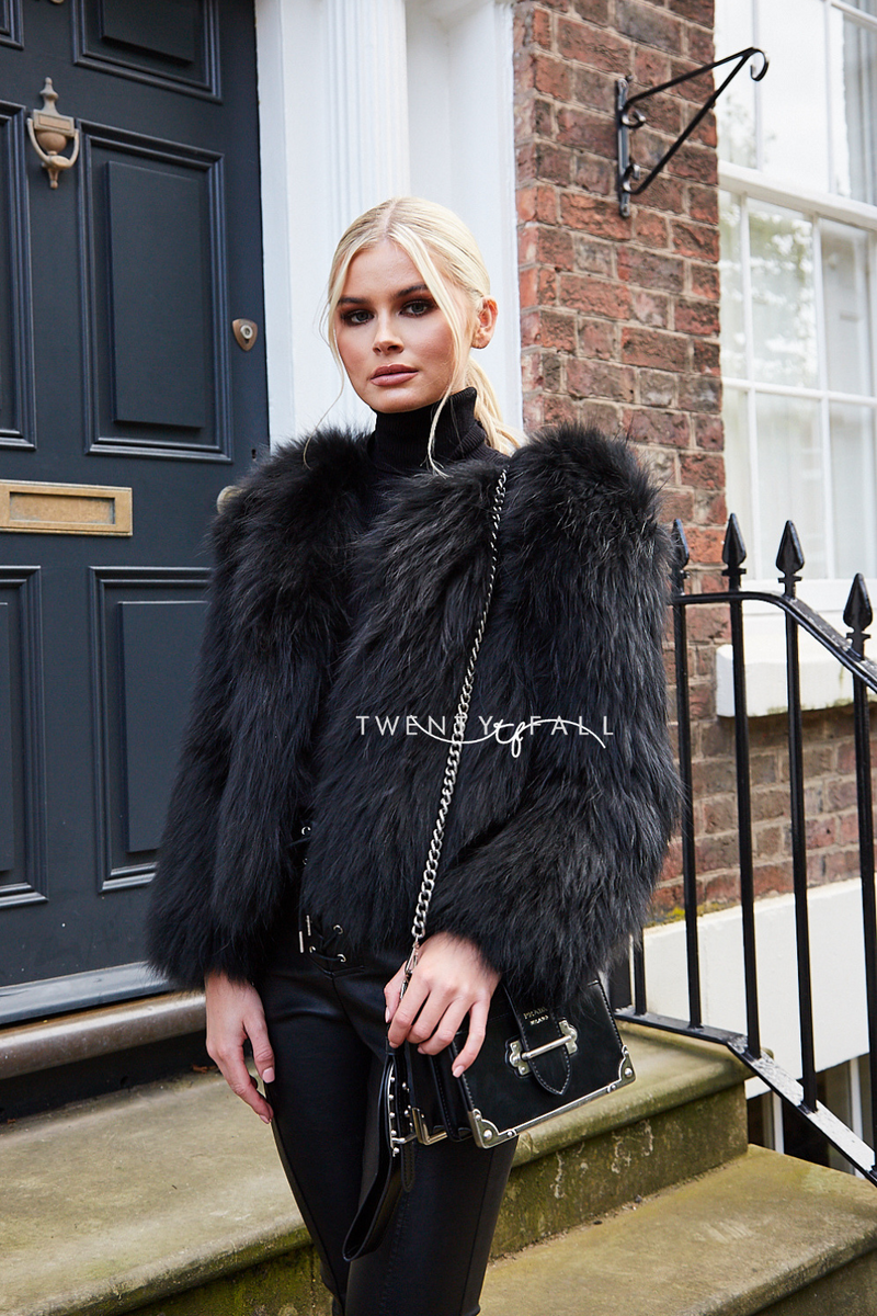 Black Knitted Silver Fox Fur Coat