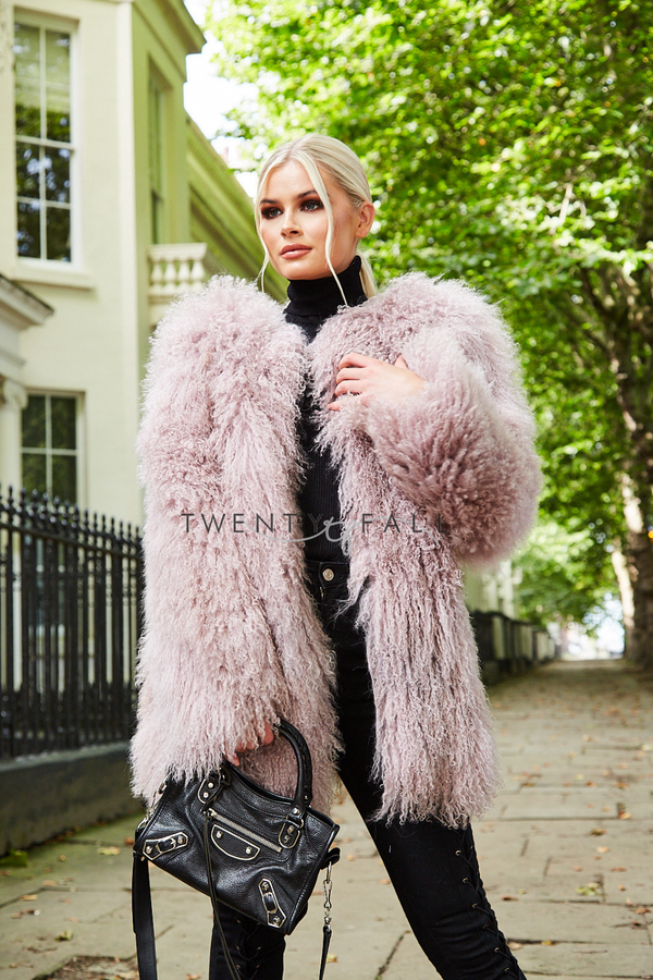 Dusty Pink Long Mongolian Fur Coat