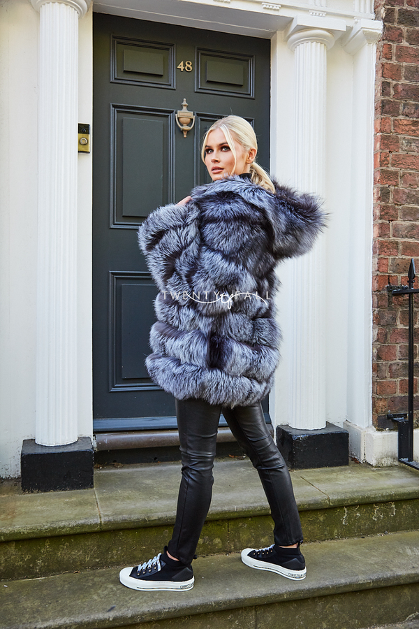 7 Ring Silver Fox Fur Coat with Hood