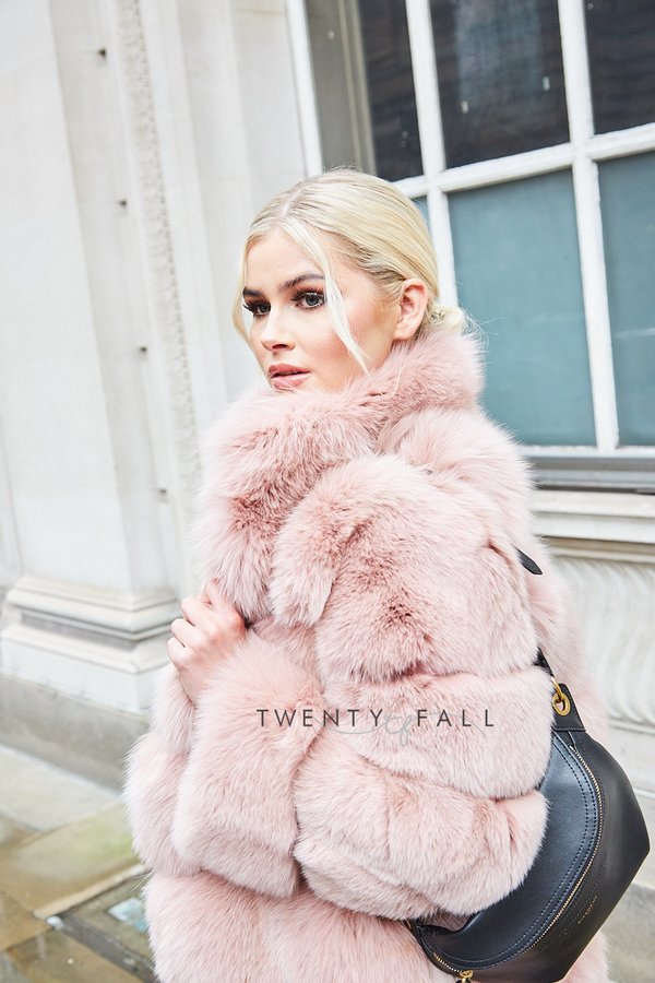 Lola Pink Fox Fur Coat with Collar