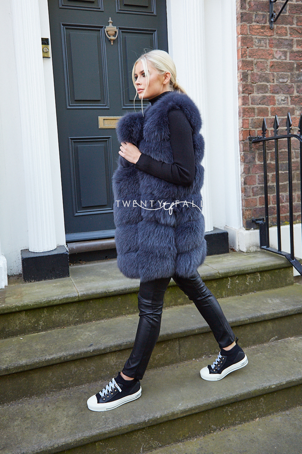 Charcoal Grey Overlap Fox Fur Gilet