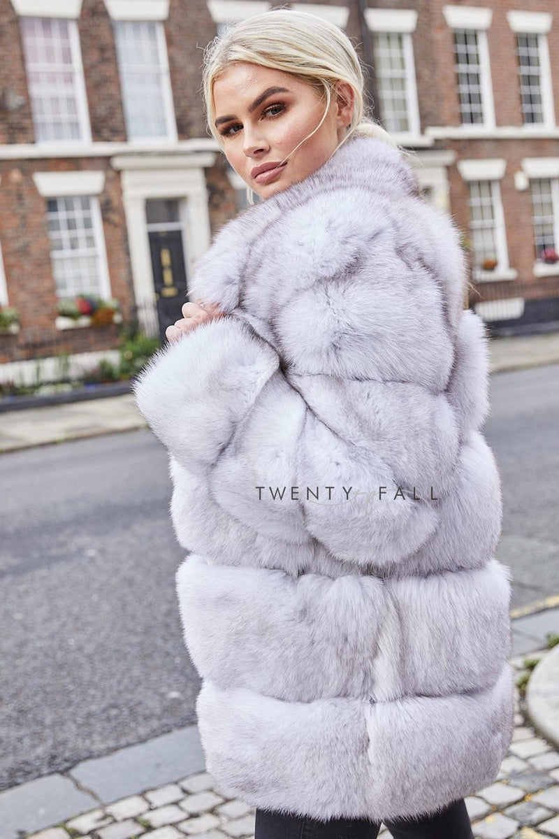 Lola Natural Fox Fur Coat with Collar