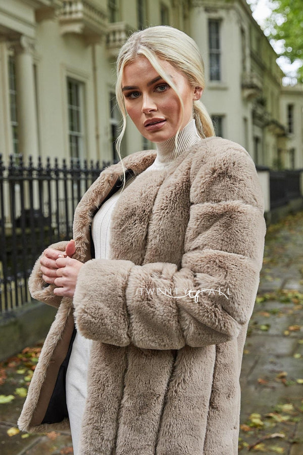 Faux Fur Mocha Long Coat