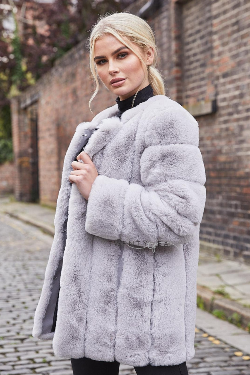 Faux Fur Light Grey Long Coat