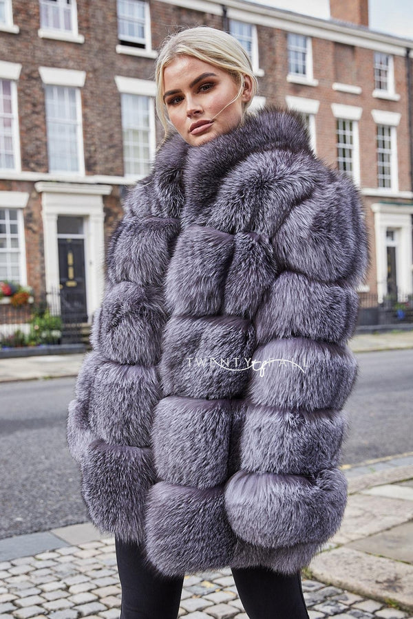 Lola Natural Silver Blue Fox Fur Coat with Collar