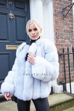 Natural White Cropped Fox Fur Coat
