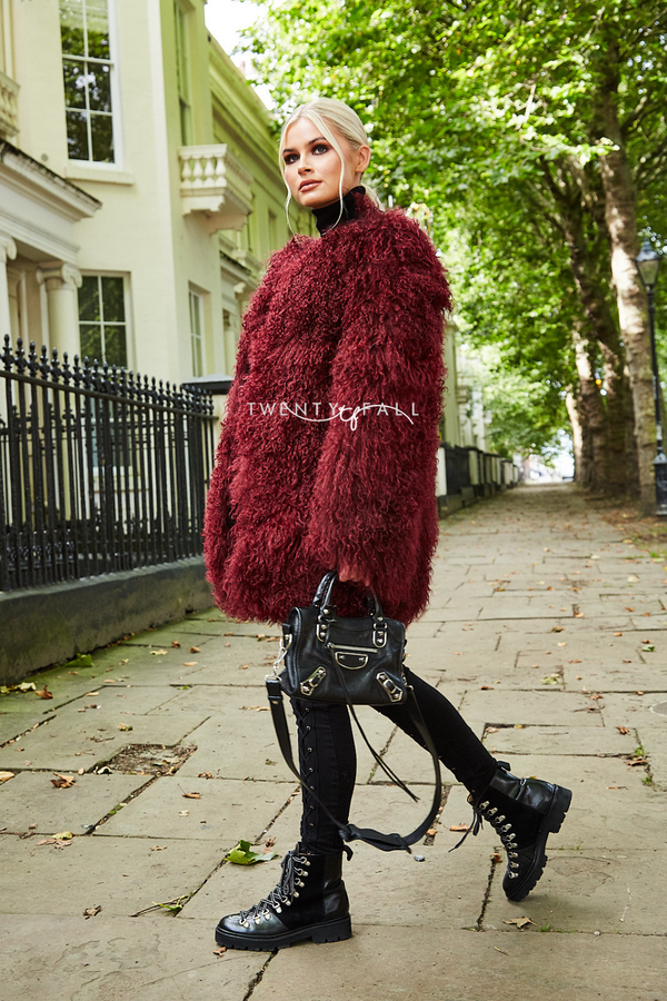 Wine Red Long Mongolian Fur Coat