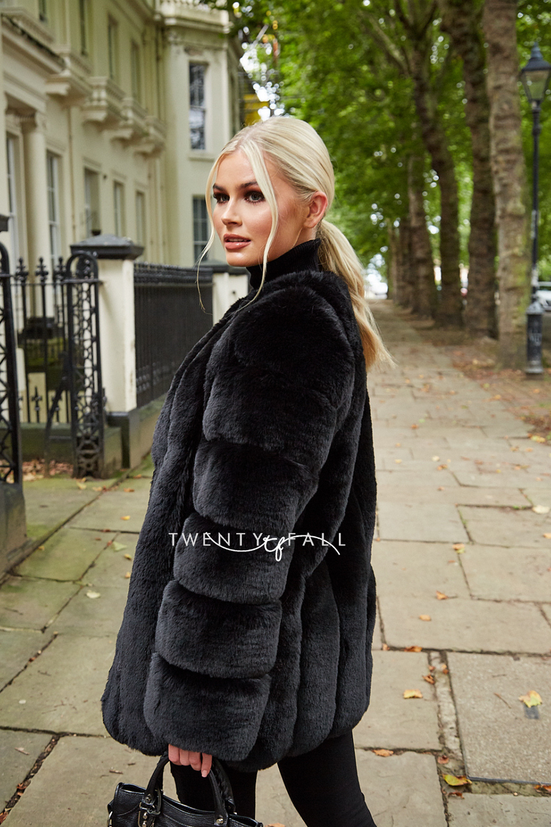 Faux Fur Black Long Coat