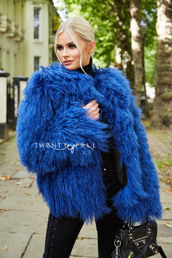 Blue Cropped Mongolian Fur Coat