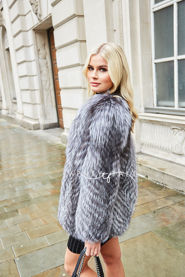 Chiara Silver Fox Fur Coat