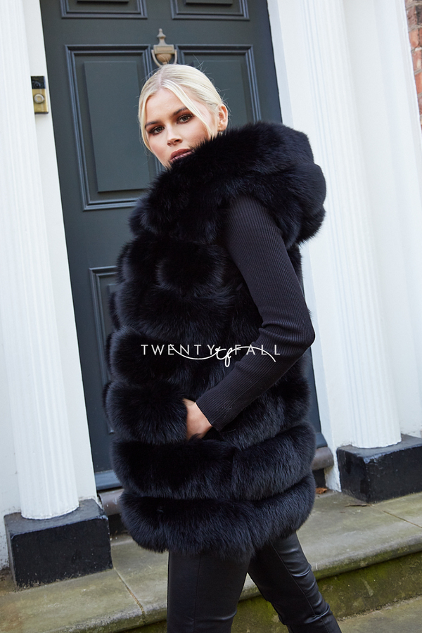 Black Hooded Fox Fur Gilet