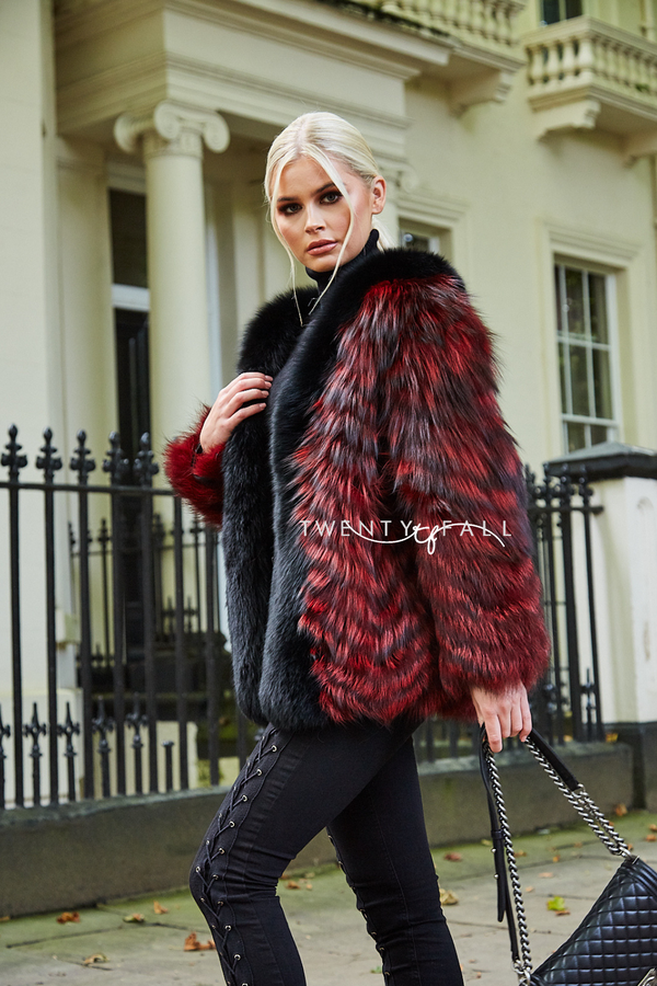 Mia Red Silver Fox Fur Coat