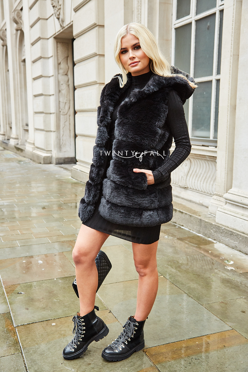 Faux Fur Hooded Black Gilet