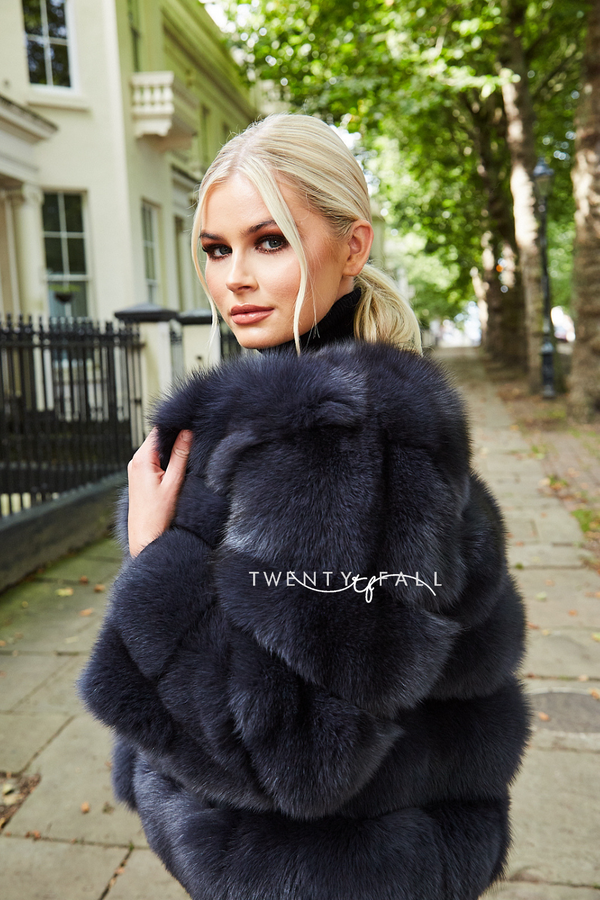 Charcoal 5 Ring Fox Fur Coat