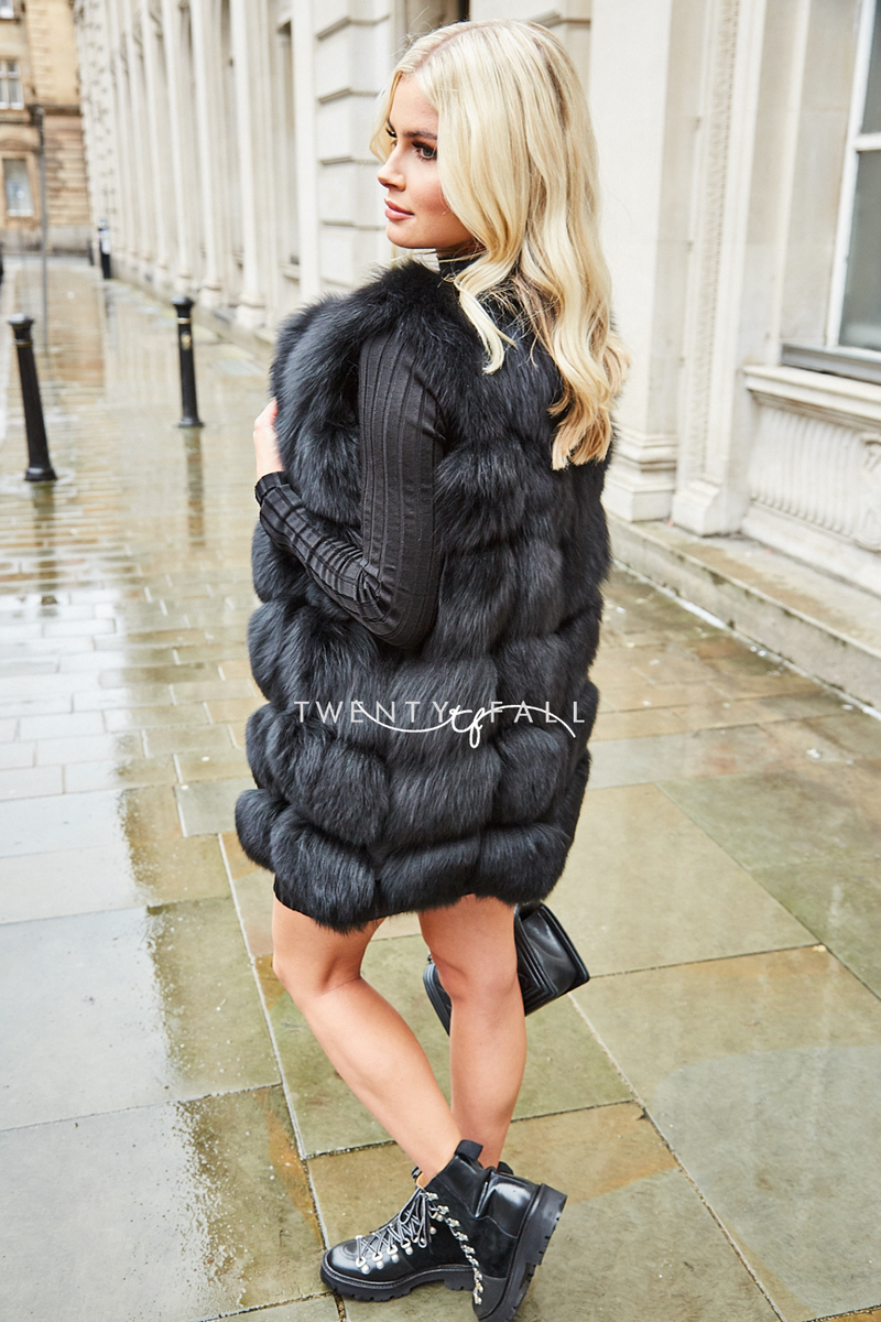 Black Straight Fox Fur Gilet