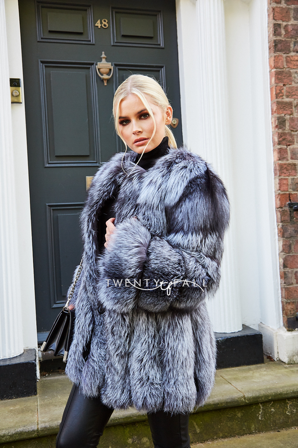 Silver Fox Fur Coat Long