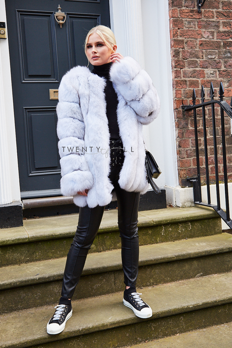 Natural White Long Fox Fur Coat