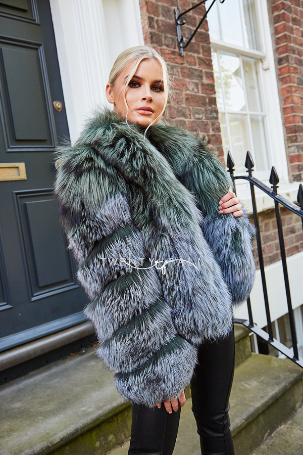 Two Tone Silver Fox Fur Coat