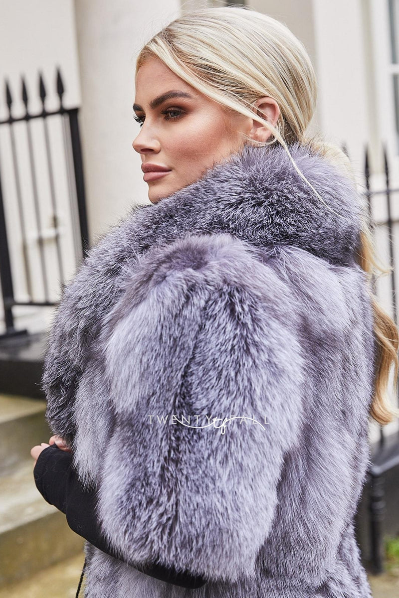 Ava Silver Blue Fox Fur Coat