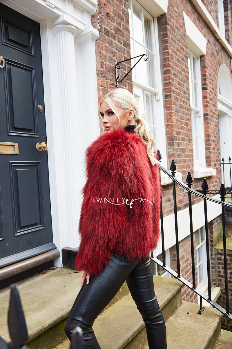 Red Knitted Raccoon Fur Coat