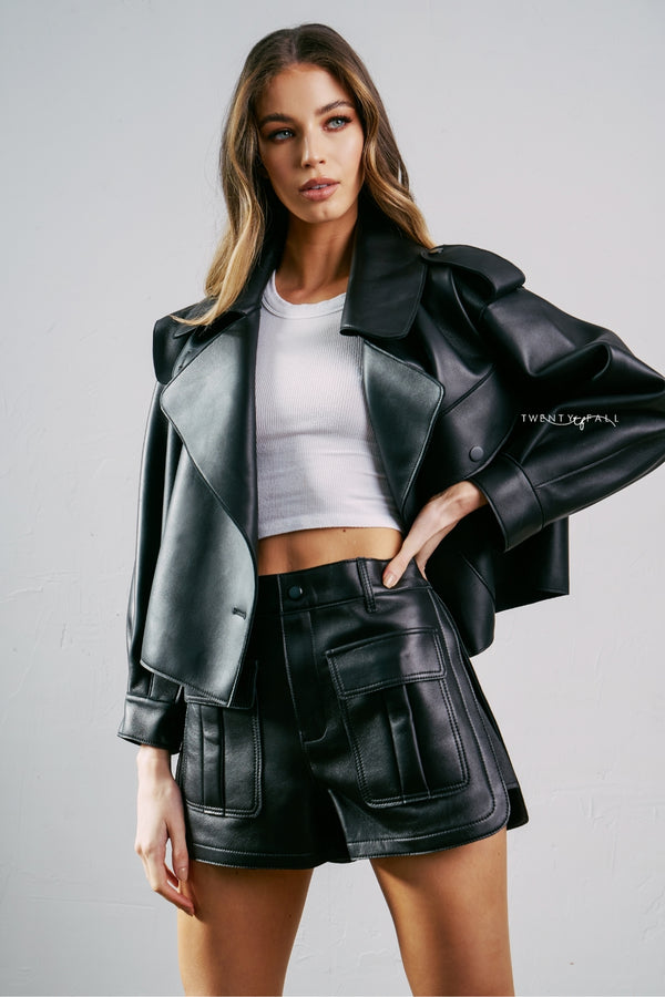 Kara Oversized Leather Jacket