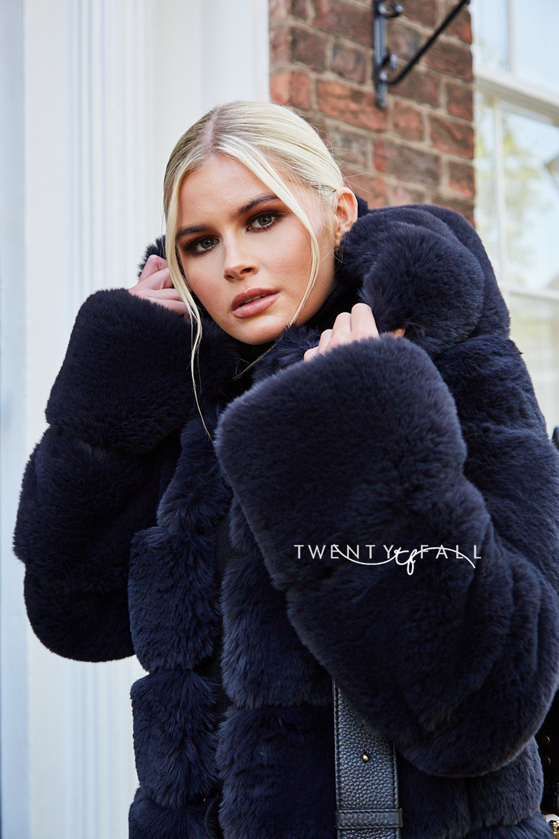 Faux Fur 5 Ring Coat with Hood