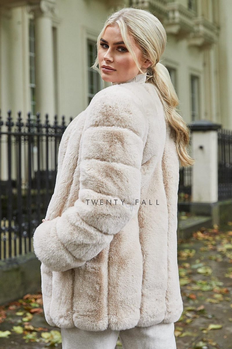 Faux Fur Latte Long Coat