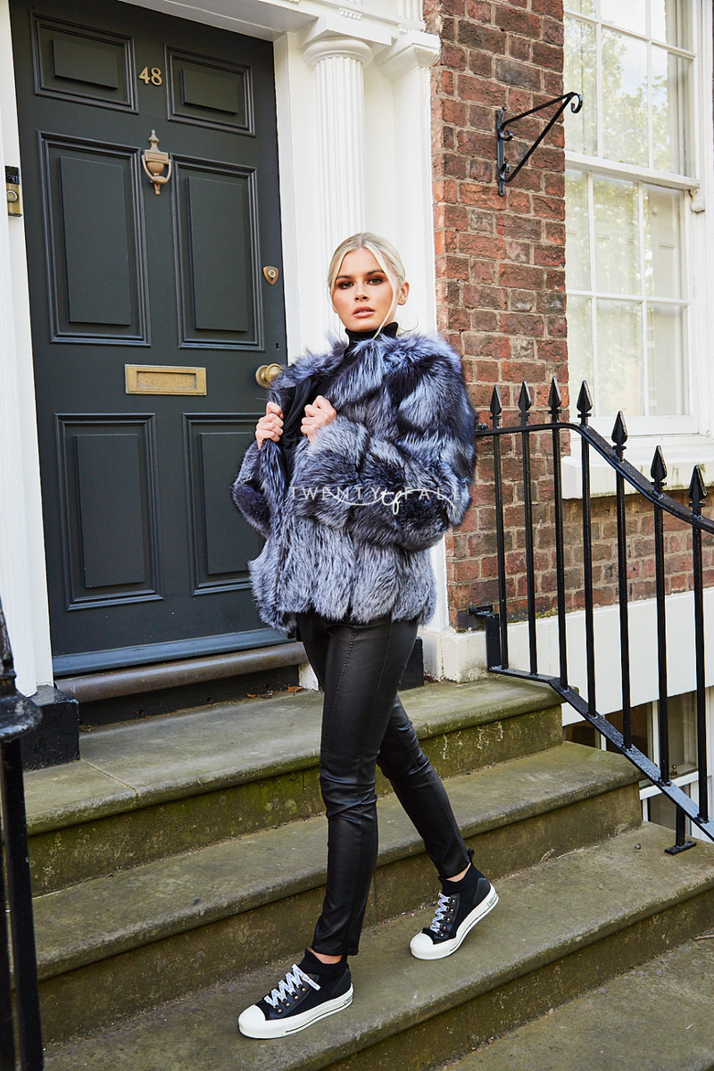 Silver Fox Cropped Fur Coat