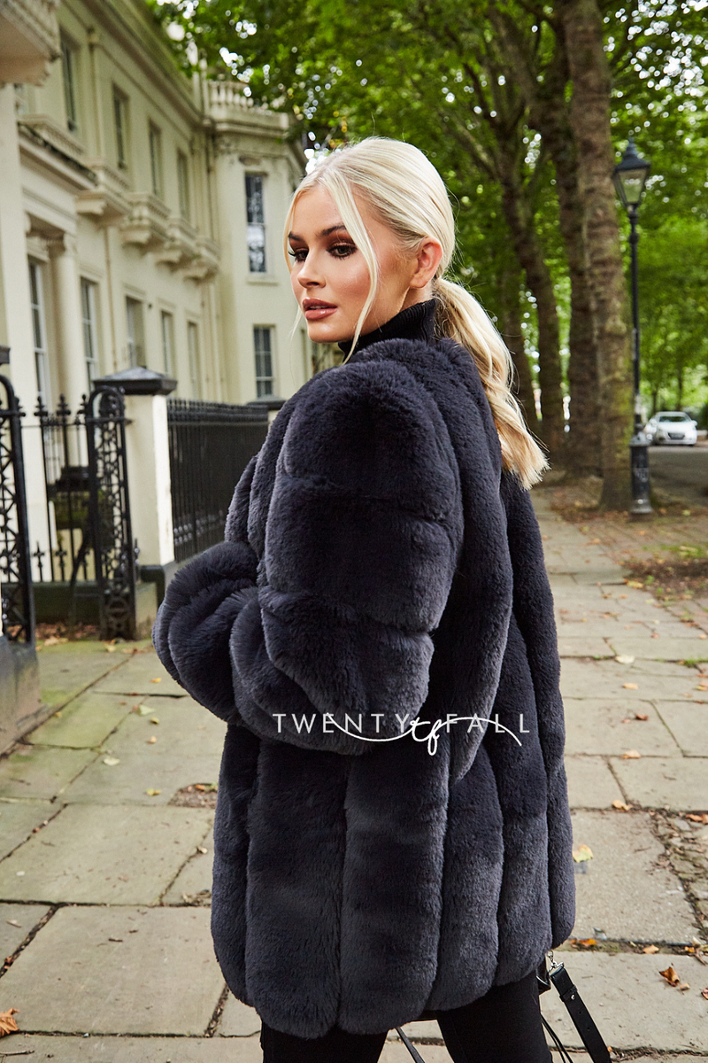 Faux Fur Charcoal Long Coat