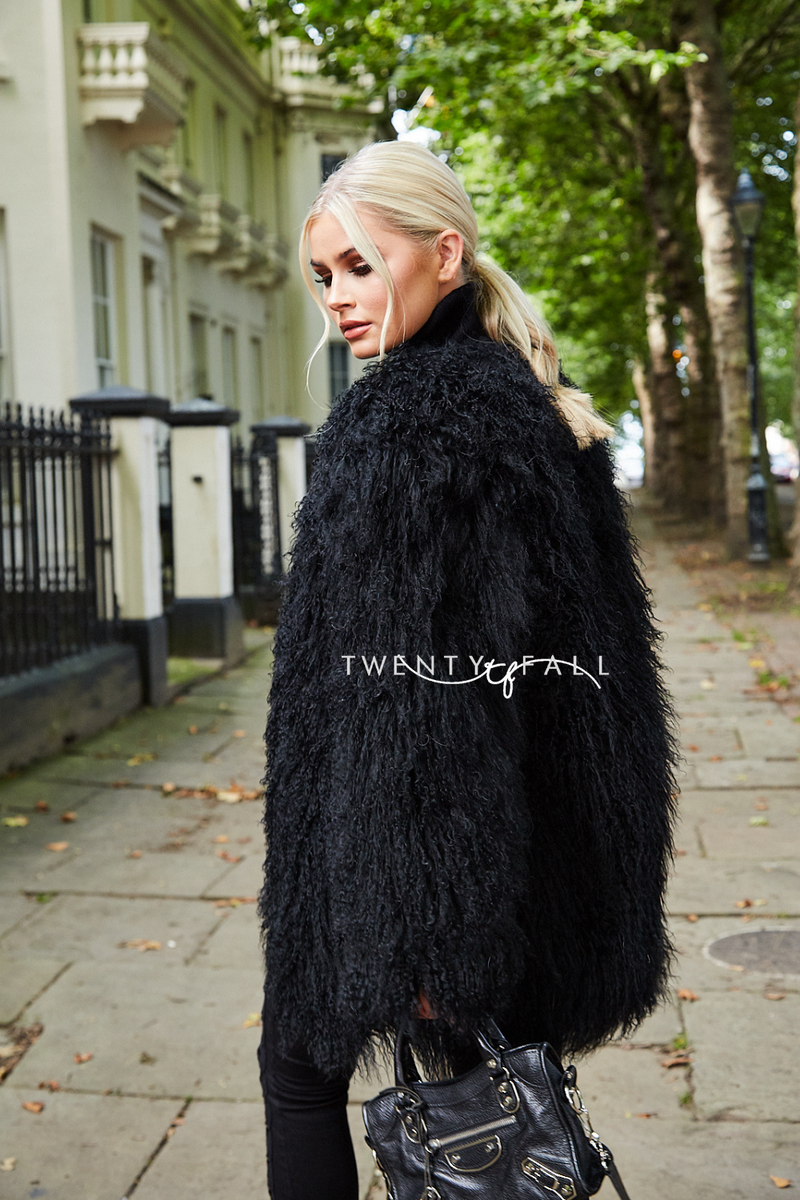 Black Long Mongolian Fur Coat