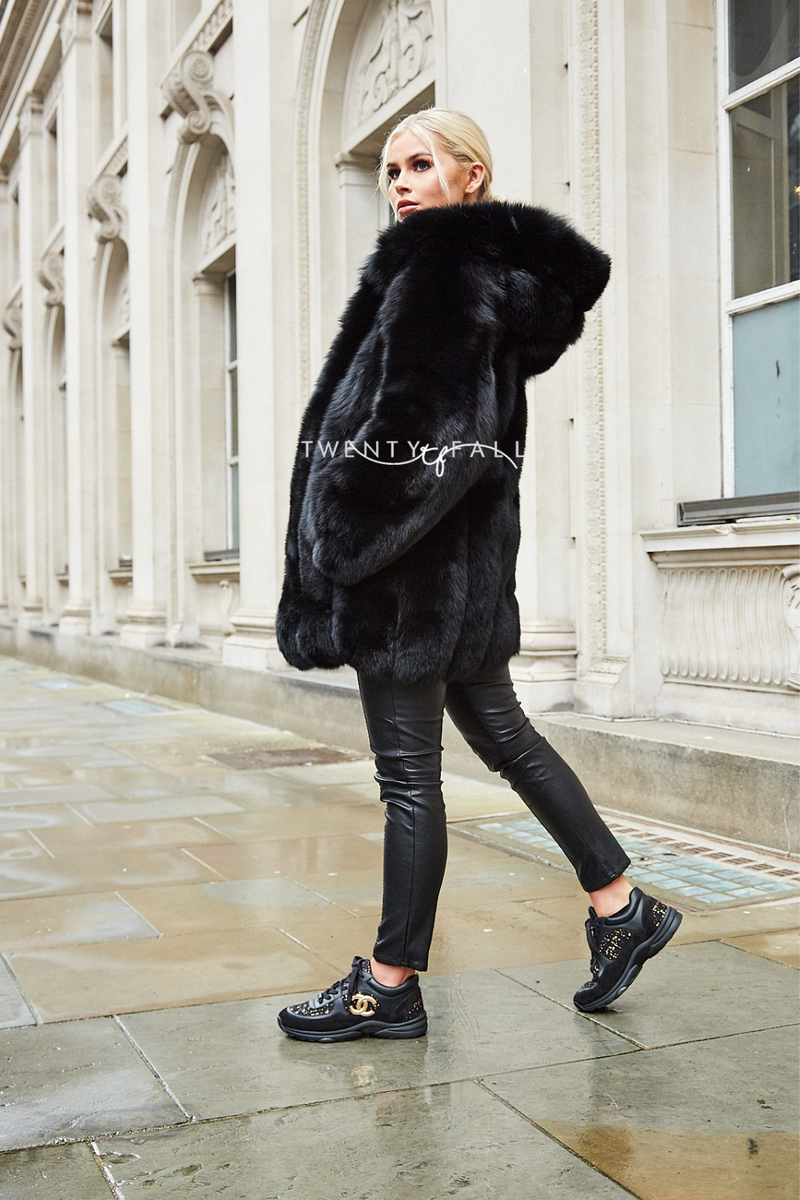 Black Fox Fur Coat with Full Pelt Fur Sleeves and Hood