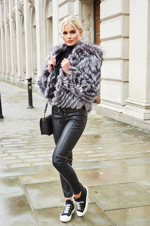 Mila Silver Fox Fur Coat with Hood