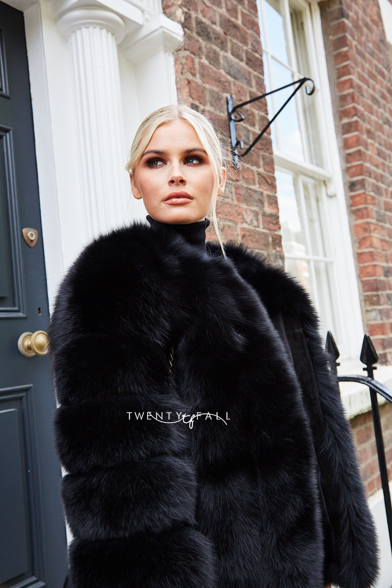 Black Cropped Fox Fur Coat